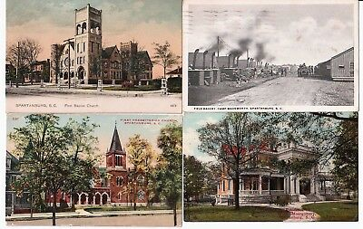 4 PCs Spartanburg SC 1911 Field Camp Wadsworth Churches Montgomery Residence