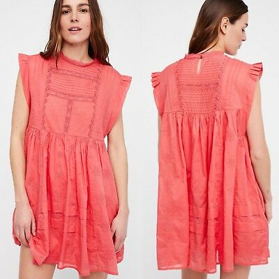 a9cdf68b5abe4 NWT Free People Nobody Like You Mini Dress S Small Pink Coral Kiss  Embroidered