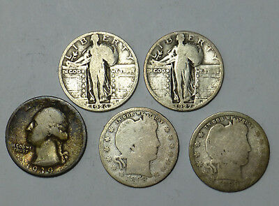 Lot 5 SIlver Quarters 2 Barber 1898, Standing Liberty 1926 1927, Washington 1939