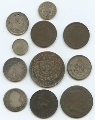 1780-1906 Eleven (11) Silver & Bronze Spanish, Mexico, South American Coins
