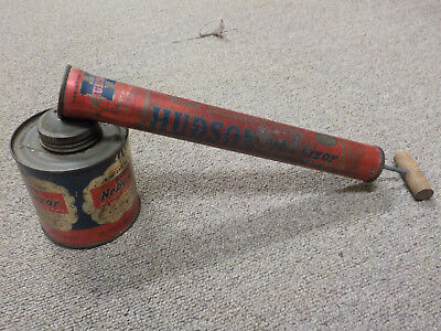 Vintage Hudson Tin Litho Nebu- Lizor Bug Fly Sprayer, red & blue