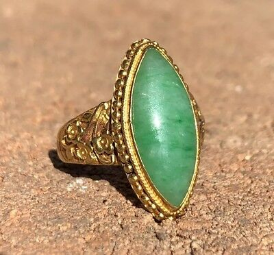 Antique Old Chinese 22K yellow Gold Green Apple Jade Jadeite Marquis Ring