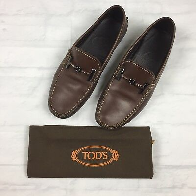 Tods Mens Shoes 7 Driving Moccasins Gommino Brown Leather Horsebit Slip On