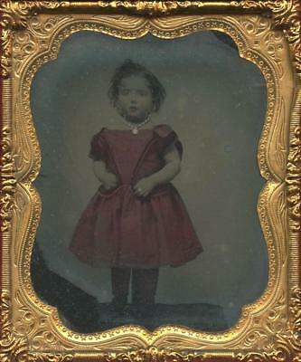 1860 Beautiful Cased Sixth Plate Color Ambrotype - Little Girl In Red Dress