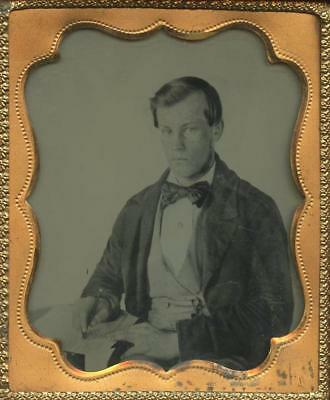 1860 Cased Sixth Plate Ambrotype - College Student At Desk With Pencil In Hand