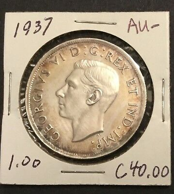 1937  Canada Silver Dollar with Mark free surfaces & gold perimeter tone