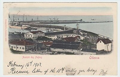Ukraine Odessa Harbour View Posted 1903 To Robert Eilley Of Sunderland