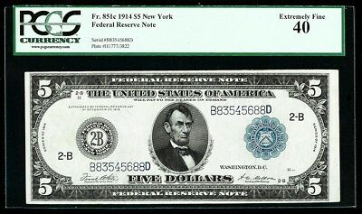 1914 $5 NEW YORK FEDERAL RESERVE BANK NOTE FR# 851c PMG EXTREMELY FINE 40