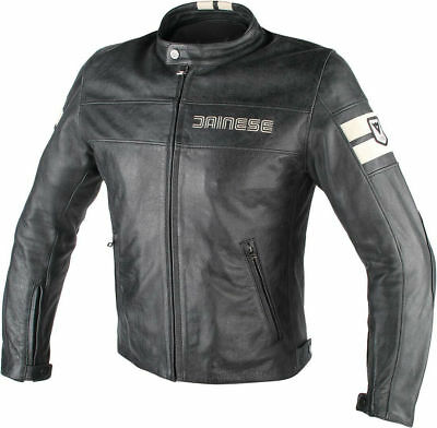 Dainese HF D1 Perforated Leather Jacket Black/Ice 54 Euro/44 USA