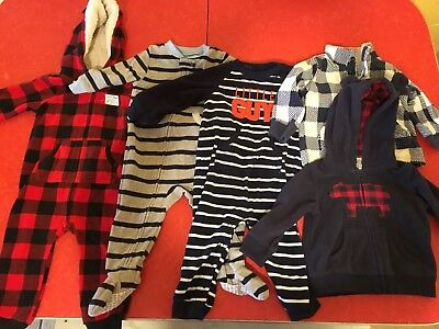 Lot Of 5 Baby Boy Carter's Winter Clothes Size 12 Months Sleeper Pullover EUC