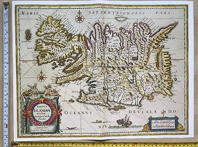 Historic Old Antique vintage Blaeu Map of Iceland 1630 1600's: REPRINT