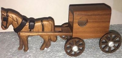 Handmade Amish Wooden Horse & Cart Lancaster PA M-M 1995