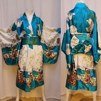 Japanese Yukata Kimono Obi Cosplay Robe Geisha Dress - Teal Satin
