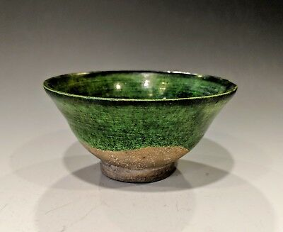 Antique Chinese Liao Dynasty Green Glazed Earthenware Bowl