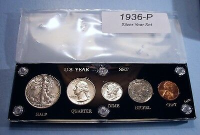 1936 SILVER SET of U.S. COINS ABOUT UNCIRCULATED to MINT UNCIRCULATED SCARCE