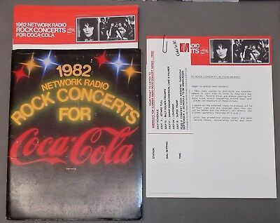 COCA-COLA PROMOTIONAL ADVERTISING Network Radio ROCK CONCERTS 1982 Joan Jett