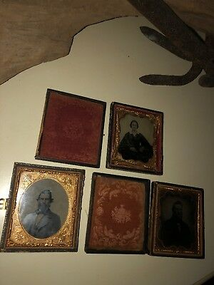 6Th Plate Leatherette Case Lot Of 3 For Daguerreotype Ambrotypes & Tintypes