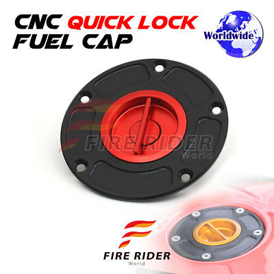 FRW Red CNC Quick Lock Fuel Cap For Ducati 1199 PANIGALE  R  S 12-14 12 13 14