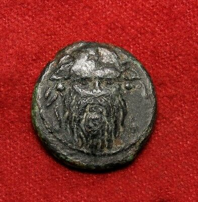 Satyr Silenus facing with piercing eyes. Macedon Ancient Greek coin. Scarce.