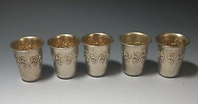 Set of 5 Sterling Silver 925 Small Cups