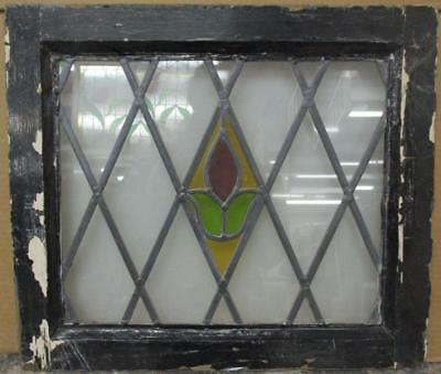 """OLD ENGLISH LEADED STAINED GLASS WINDOW Pretty Diamond Leaded Floral 21"""" x 18"""""""