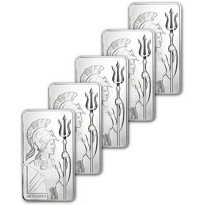 FIVE (5) 10 oz. Silver Bar Royal Mint Britannia .999 Fine in Mint Sealed Plastic