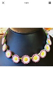 Vintage Villeroy & Boch Porcelain Daisy Chain Daisies Necklace