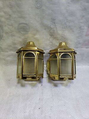 2 Vintage Porch Cottage Sconces Coach House Lights brass carriage wall