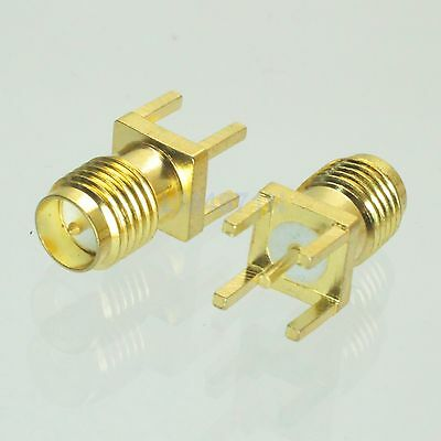 1pce Connector RP.SMA female plug solder PCB mount straight 5.08mm