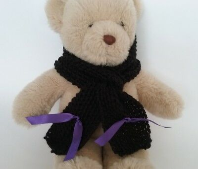 Teddy Bear Clothes, Handknitted Black Scarf with Purple Ribbon Trim