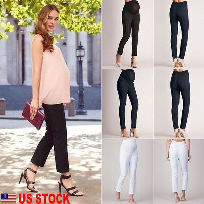 US Women Elastic Belly Protection Maternity Pregnant Leggings Pants Pencil Pants