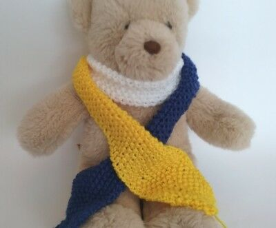 Teddy Bear Clothes, Handknitted Blue, White and Yellow Scarf
