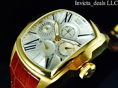 Invicta Men's Lupah REVOLUTION Retrograde Day Silver Dial 18K Gold Plated Watch