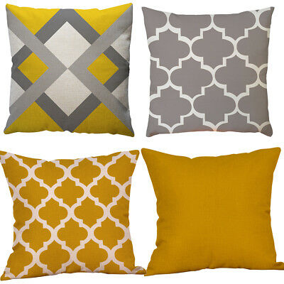 NEW Modern Geometric Cushion Mustard Yellow and Grey Scandi Sofa Case Cover 45cm