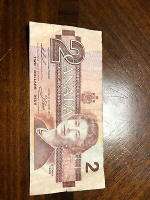 1986 $2 Bank Of Canada Banknote Two Dollar Rare