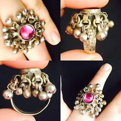 Rare Wonderful post Medieval Brass antique kuchi ring with red stone 1700 AD