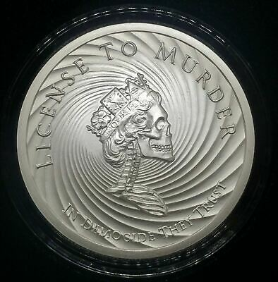 2019 2oz Democide Proof Silver Shield License To Murder Slave Queen Series 1oz