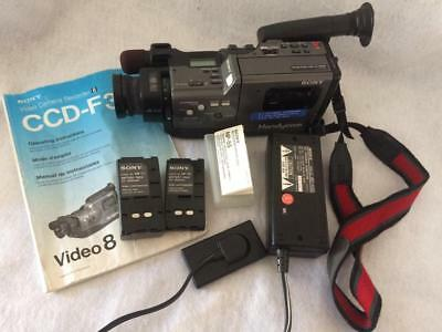 1988 Sony Handycam CCD-F30 Video 8 Camera Recorder Adaptor Battery Pack-Manual