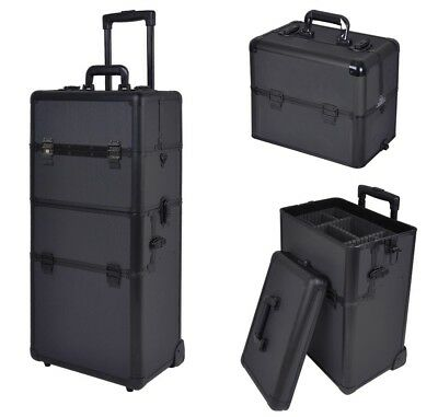 AW® 2in1 Aluminum Cosmetic Makeup Artist Show Train Case Lock Shoulder Strap Box