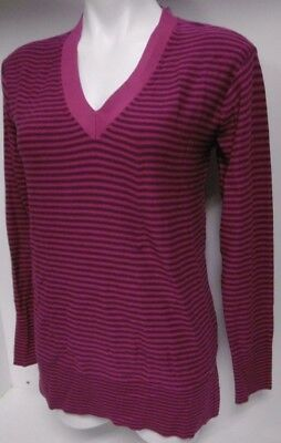 d157687e New Tommy Hilfiger Women's V-Neck Sm Pink & Purple Stripes Lng Slve Sweater  B98