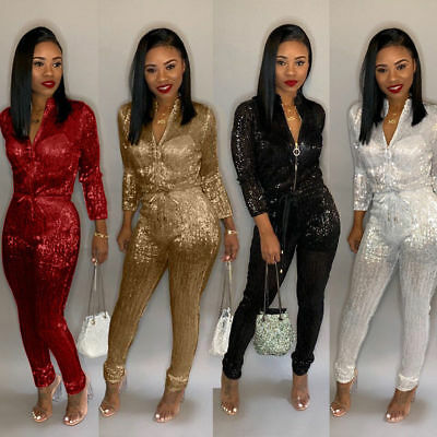 New Women Fashion Sequin Zipper Long Sleeve Lacing Casual Slim Jumpsuit Clubwear