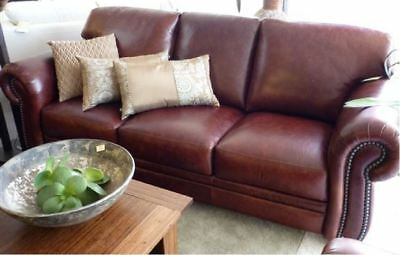 'Caloundra' Antique Burgundy Leather 3 Seater Sofa / Lounge (Made to Order)