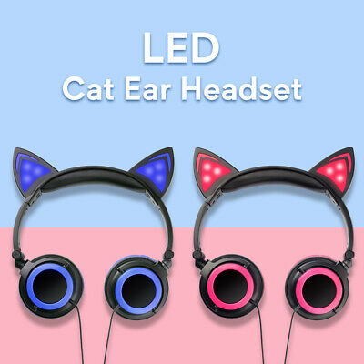 Cute Cat Ear Headphones Foldable Headset Sports LED Lights Earphones phones Pink