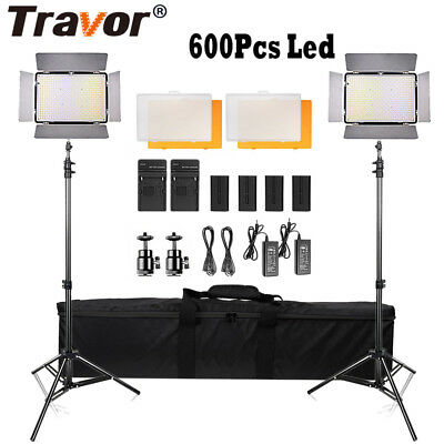 Travor 2 Pack Dimmable 600 LED Video Light + 2X Stand + 4X Battery Lighting Kit