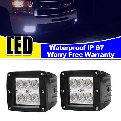 2x 4inch bumper Flush Mount 18W CREE LED Pod Lights For Truck Jeep Off Road ATV
