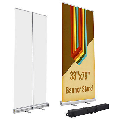 "33"" x 79"" Aluminum Retractable Roll Up Banner Stand Trade Show Display with Bag"