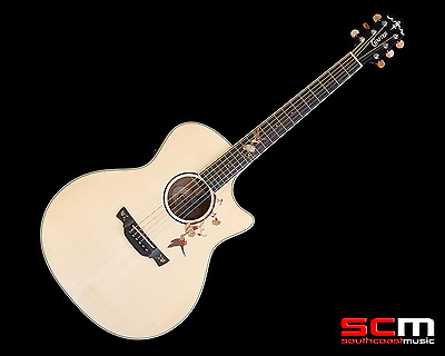 Crafter Twin Birds Acoustic Electric Guitar Solid Spruce Top Mahogany Back+Sides