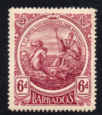 Barbados 6d Stamp c1916-19 Mounted Mint