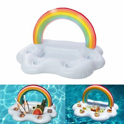 Inflatable Rainbow Cloud Cup Holder Inflatable Pool Floating Beer Drink Toy RR