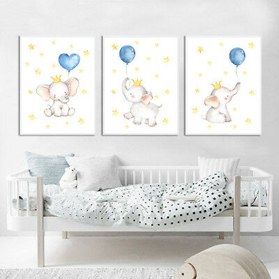 Watercolor Elephant Wall Art Canvas Poster Animal Nursery Print Baby Room Decor